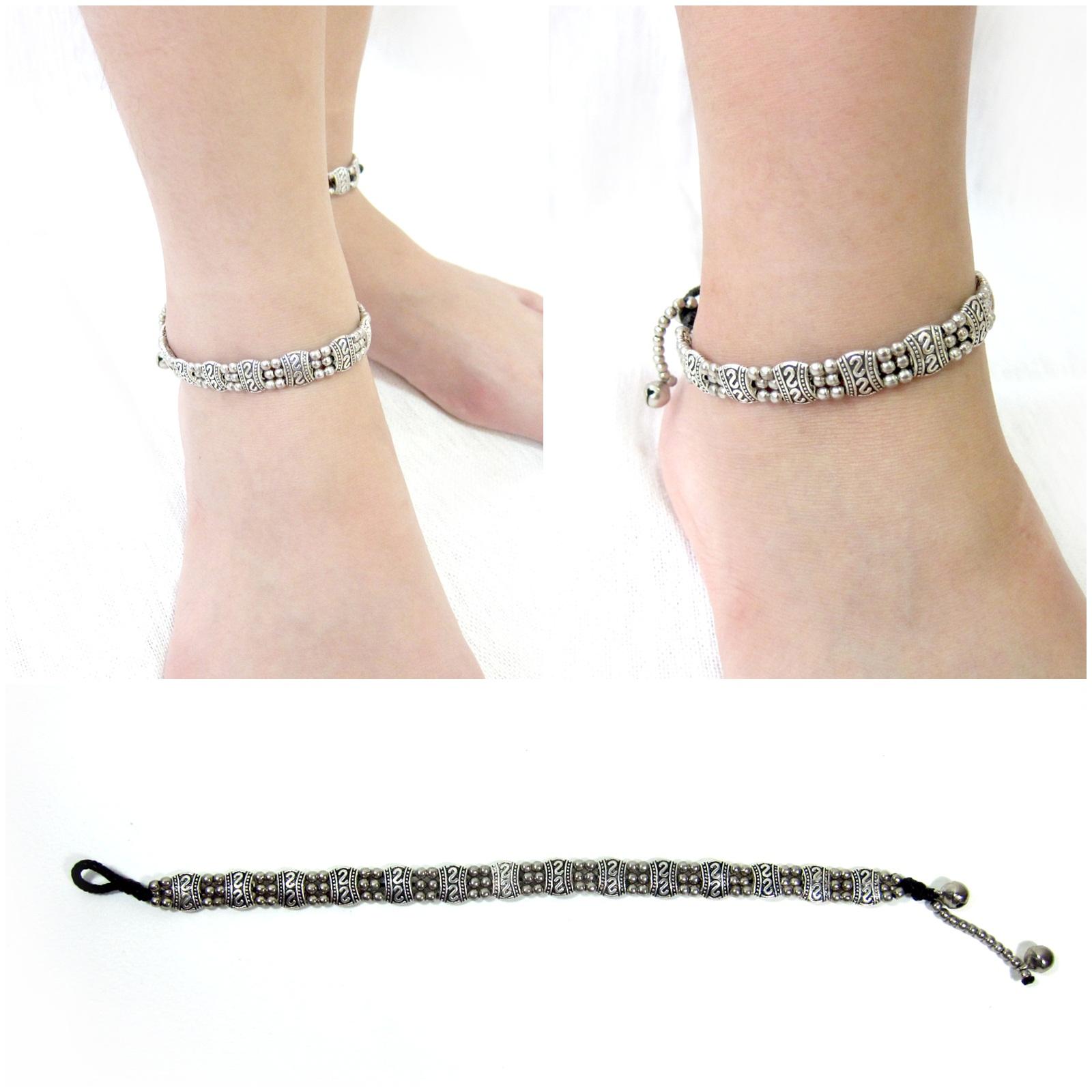 Jinlge Jangle Adjustable Wax String Anklet  Brass Bell Anklet  Wax Cord Anklet  Surfer Anklet