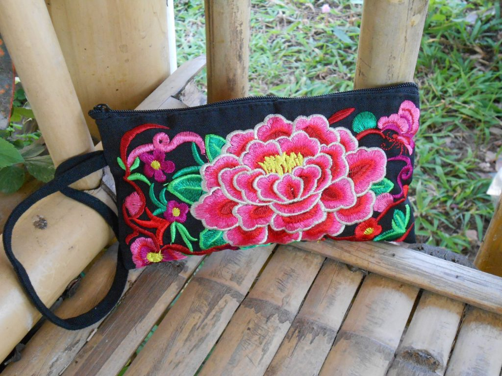 Pink Peony Flower Zipper Wristlet clutch, Wallet, Purse Embroidered vintage Hmong fabric Handmade. (KP1048)