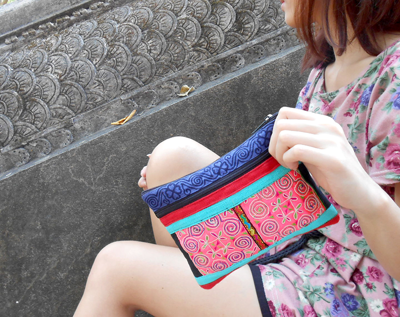 Zippered Pouch, Bag, Small Clutch, Purse, Tribal Vintage Style,Hand Embroidered Textiles by Hmong. (KP1207)