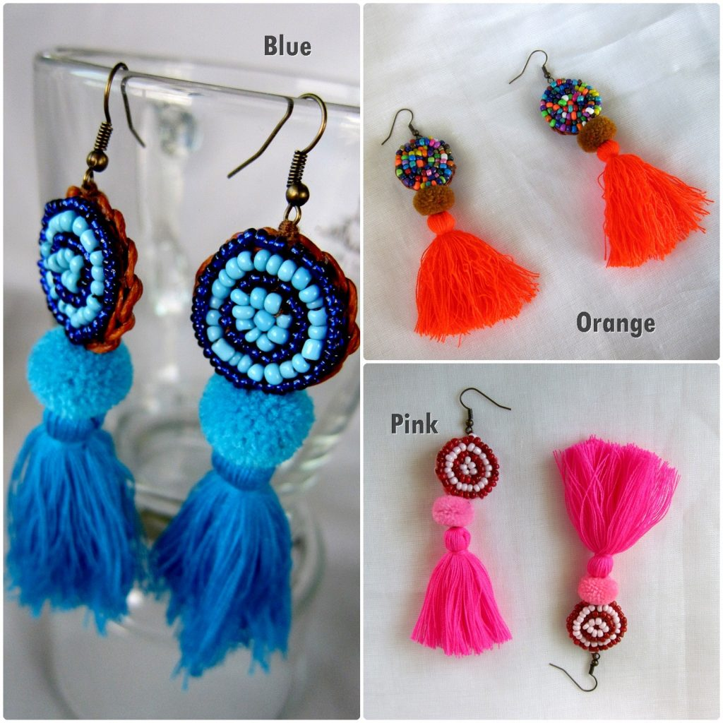 Dangle Earrings Colorful Tassel with Beads, Jewelry Hmong Thailand Handmade (JE1063)