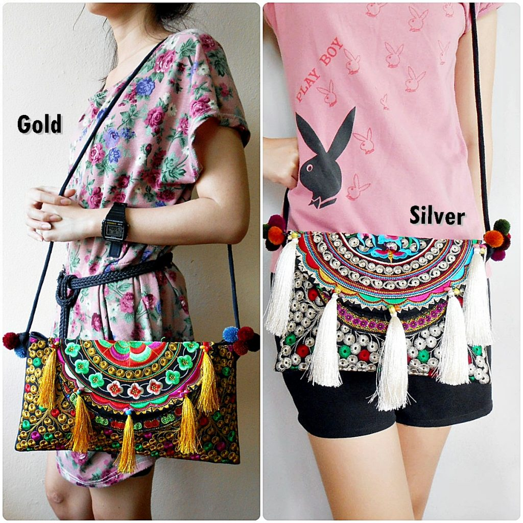 Luxurious Handbag, Shoulder Bag, Cross-body Bag with Tassel Embroidery Hill tribes Handmade (KP1212)